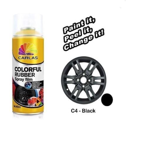 Foto Produk Carlas Rubber Paint Black Doff / Hitam C4 (400ml) -Cat Velg dari Family Brick And Toys