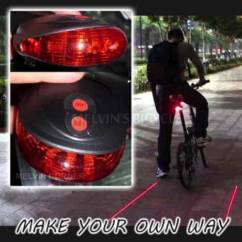 Foto Produk Lampu belakang sepeda dengan laser virtual bike lane sinar warna merah dari Eski Bike