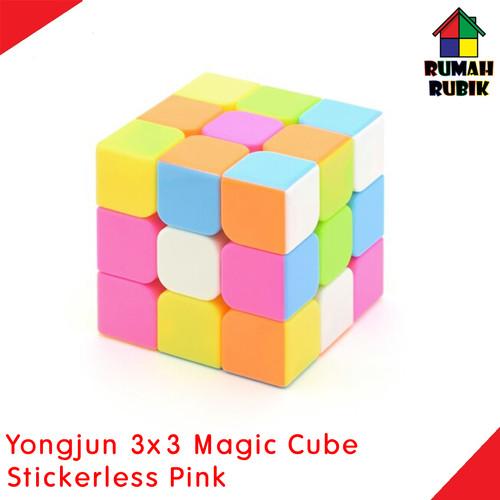 Foto Produk Rubik 3x3 Yongjun Magic Cube Stickerless Pink  / Jual Rubik Murah dari Rumah Rubik