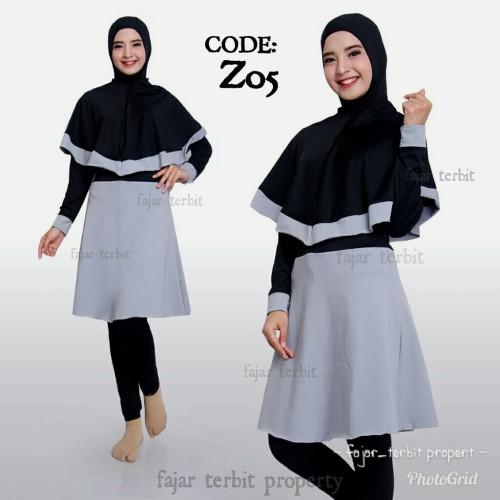 Foto Produk baju wanita renang muslimah syari dewasa baju renang hijab syar i - Biru, M dari fajar terbit