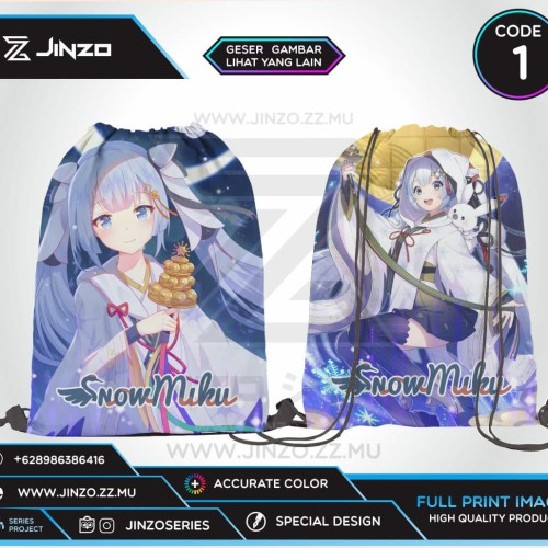 Foto Produk Tas Serut Vocaloid Snow Miku Terbaru - Code Satu dari Jinzo Series