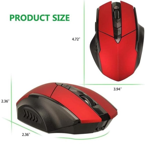 Foto Produk Termurah Wireless Gaming Mouse, Austruke 2.4G Usb - Merah dari dpatahoshop