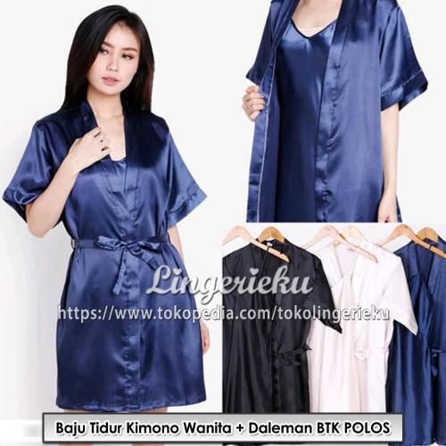 Foto Produk Baju Tidur Wanita Daster + Kimono Polos Satin Sutra BTK POLOS - Cokelat Muda, L dari Lingerieku