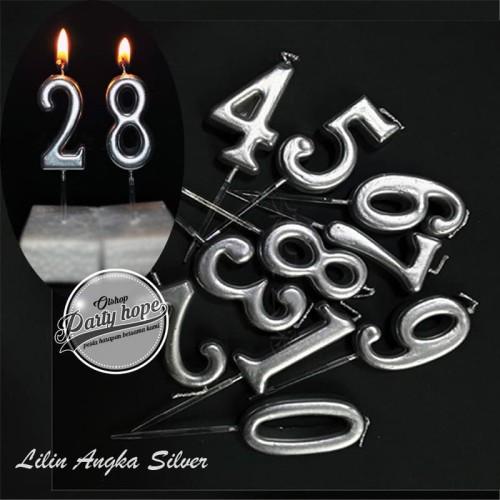Foto Produk lilin angka silver / Lilin Ultah perak / Lilin Angka ulang tahun perak dari PARTY HOPE 2