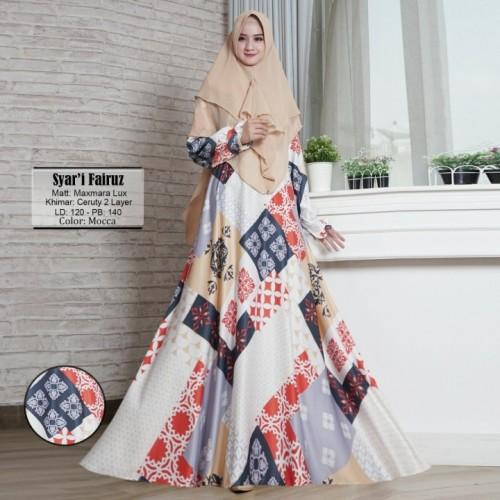 Foto Produk Baju Muslim Gamis Syari Fairuz Mocca Tashi.324 CB dari Modiste Galeri