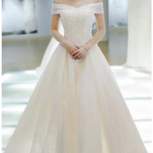 Jual Wedding Dress Sabrina Payet Ekor Gaun Pernikahan Bridal Mewah Premium Putih S Kota Semarang Tiara Clay Tokopedia