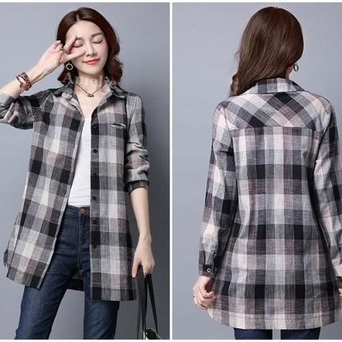 Foto Produk Baju Atasan Kemeja Kotak Wanita Blouse Korea Import AB635536 Tunik dari Amelie Butik Wholesale