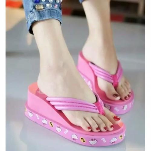 Foto Produk Sandal wedges Capit wanita Sandal Jepit Cewek Rumah Murah Santai - Merah Muda dari Nuruni Ad