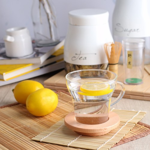 Foto Produk UCHII Double Wall Coffee Mug Cup w/ Coaster | Gelas Kopi Tatakan Kayu dari uchii store