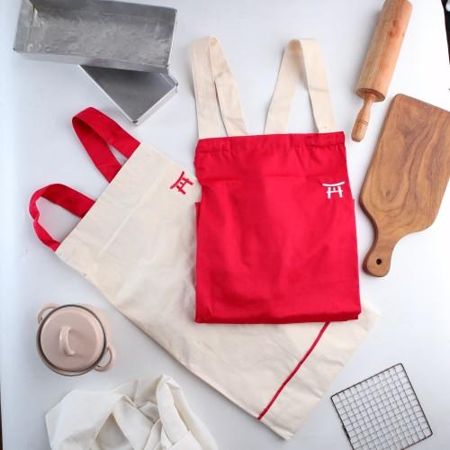 Foto Produk UCHII Cotton Cooking Apron   Celemek Masak Kain Dewasa All Size Pocket - Merah dari uchii store