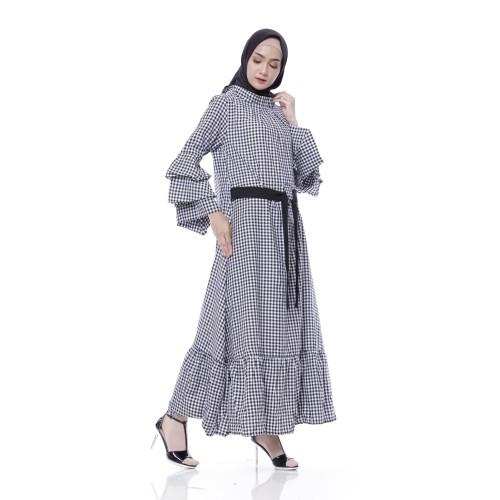 Foto Produk Gamis Katun Wanita   Luna Square Maxi   Gamis Muslim Kotak - Black dari Tazkia Hijab Store