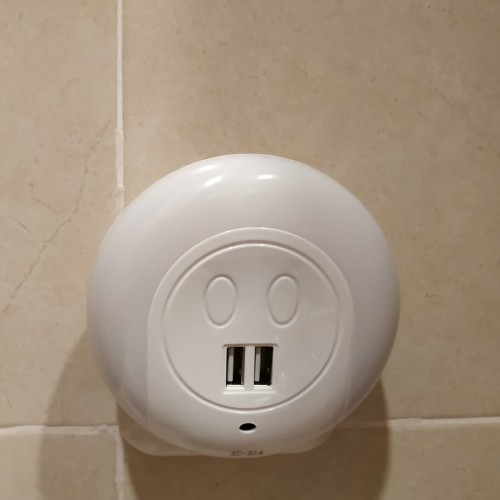 Foto Produk Lampu Tidur dual USB charger dinding light sensor cahaya censor dari listrikmurahonline