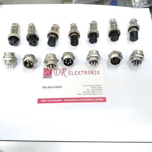 Foto Produk Aviation Plug Konektor CB GX16 2 3 4 5 6 7 8 pin 16mm set male female dari DR ELEKTRONIK DEPOK