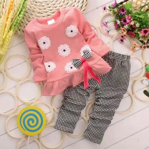Foto Produk Setelan baju anak perempuan import lengan panjang / Baju anak cewek - S 1 Tahun, Kuning dari YuniZam Baby Shop