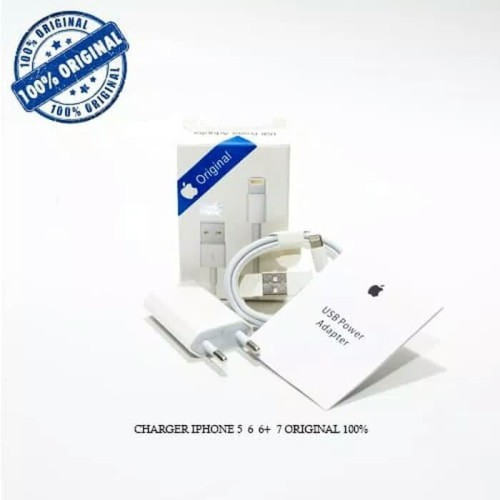 Foto Produk Charger Iphone Lightning 5 / 6 / 6+ / 7 Original 100% - Putih dari GRosiRan ACCESORIESS HP