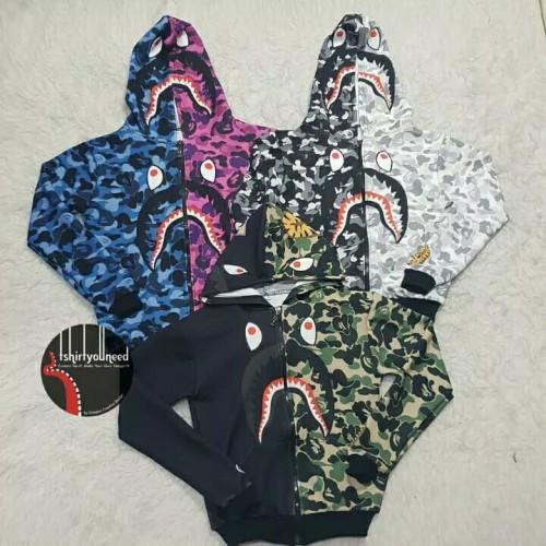 Foto Produk jaket hoodie bape army shark dewasa dan anak - Hitam dari warscloth official