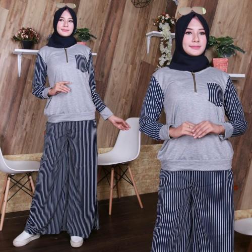 Foto Produk Setelan Isyana Busui Jumbo Setelan Kulot Muslim Big Size - BLACK dari MJM Fashion