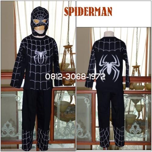 Foto Produk Baju Setelan Kostum Anak Karakter Superhero SPIDERMAN Black 5-8 Tahun - Size 12 dari Bebagus
