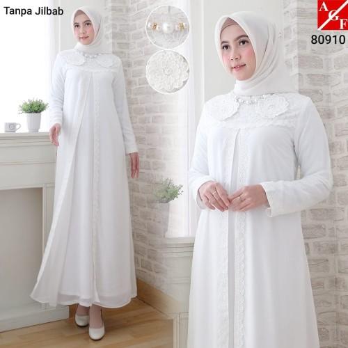 Foto Produk Baju Gamis Wanita Putih / Muslim Terbaru / Gamis Lebaran #80910 STD - Putih, M dari Agnes Fashion88