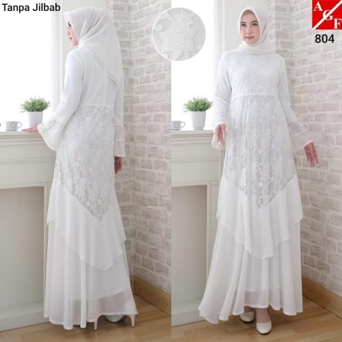 Foto Produk Baju Gamis Wanita Putih / Muslim Terbaru / Gamis Lebaran #804 STD - Putih, XL dari Agnes Fashion88