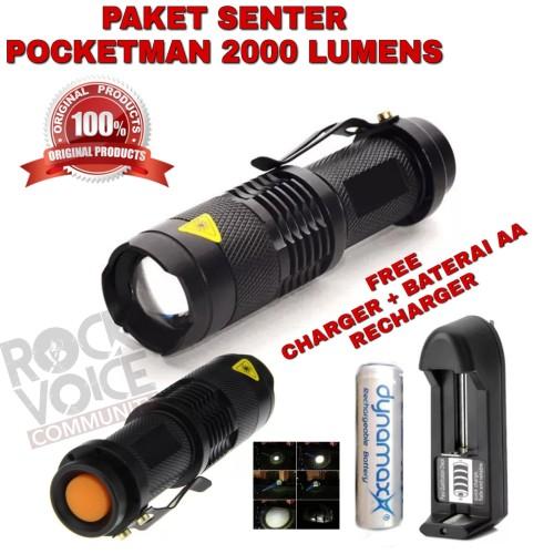Foto Produk Paket Senter Police Led Pocketman 2000 lumens Flashligt Waterprof dari bausshoop