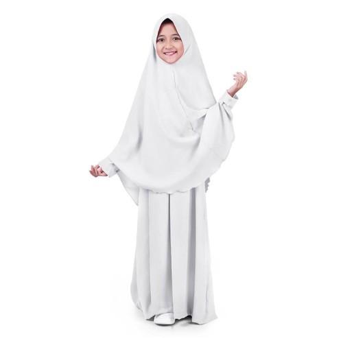 Foto Produk Baju Muslim Anak Perempuan Gamis Syar'i Polos Wolly Crepe - Putih WST0 - M dari EL-Fathin