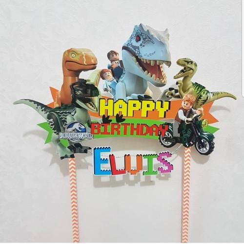 Foto Produk Cake Topper Dinosaurus Ulang Tahun 23x14cm dari RainbowRainbow