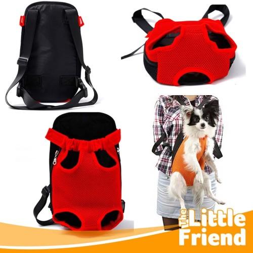 Foto Produk Pet Carrier Tas Ransel/Gendongan Depan Belakang Anjing Kucing Jaring2 - S - BEIGE MESH dari The Little Friend