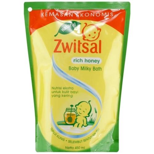 Foto Produk Zwitsal Natural Baby Bath Milk & Honey Pouch 450ml refill sabun bayi dari JMT-Shop