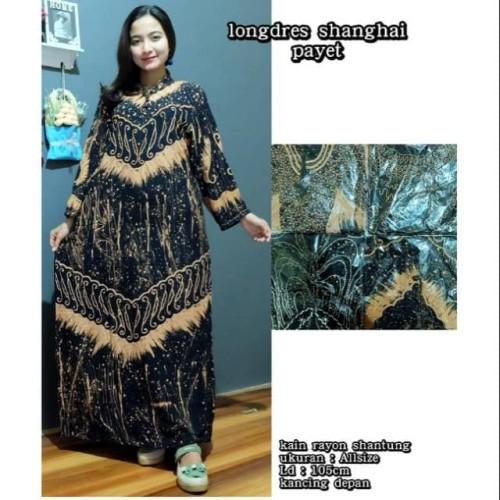 Foto Produk Longdress Shanghai Payet Gamis Kancing Payet Batik Pekalongan dari Brantandari Shop