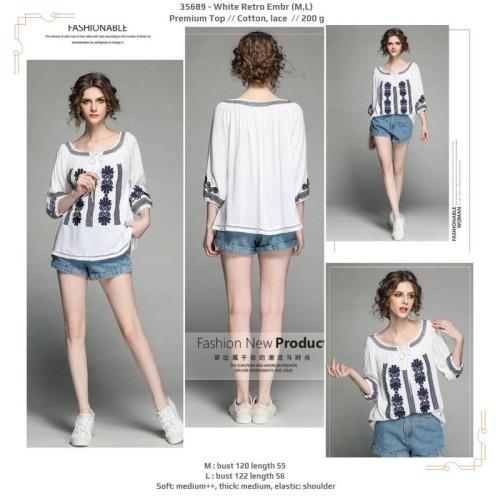 Foto Produk 35689 White Retro Embroidery Premium Top / Blouse Putih Bordir dari XineShop