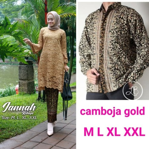 Foto Produk Couple Kebaya Brukat Kurung Kinanti Set Rok Plisket & Hem Batik pria 1 - Emas, M dari ayu_mukena