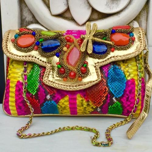 Foto Produk Clutch Kulit Ular Phyton Raisa Model Kipas S - Tas Pesta Multi Color dari Tas Kulit Cantik Bali