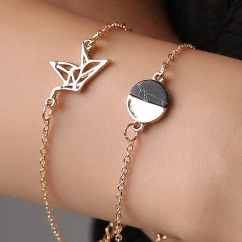 Foto Produk gelang fashion set 2 pcs crack stone pigeon alloy bracelet jge075 - gold dari Oila