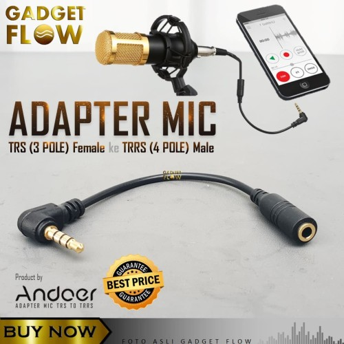 Foto Produk Converter Mic TRS to TRRS - 3 Pole to 4 Pole 3.5mm Adapter ANDOER dari Gadget Flow