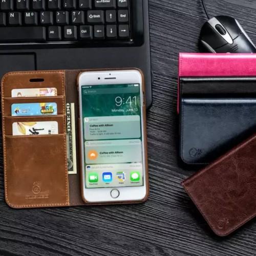 Foto Produk Leather Case Flip Cover Wallet Casing Kulit Iphone X / Xs / 8+ / 7+ dari Ponk Anime