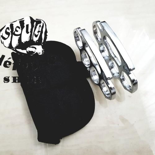 """Foto Produk Sepasang Knuckle/Krakling Tebal 1 Cm Silver Perak """"Self Defense SHOP"""" dari Self Defense Shop"""