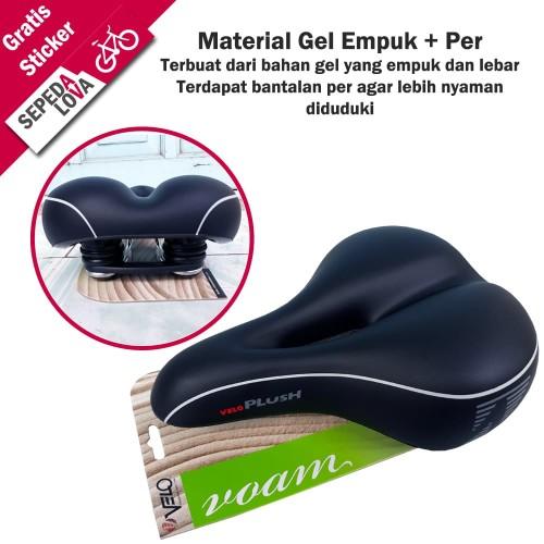 Foto Produk Jok Sadel Sepeda atau Saddle Velo Plush Besar Gel VL-6103E Dengan Per dari SepedaLova