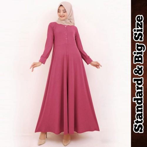 Foto Produk Gamis Jersey Gamis Polos Kancing Klep Gamis Busui 9891 - Tosca, M-L dari Hitjab & Co