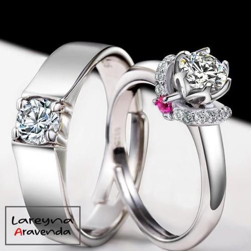 Foto Produk Cincin Titanium Pasangan / Couple Ring Motif Crystal Kristal CC006 - Pria dari Lareyna