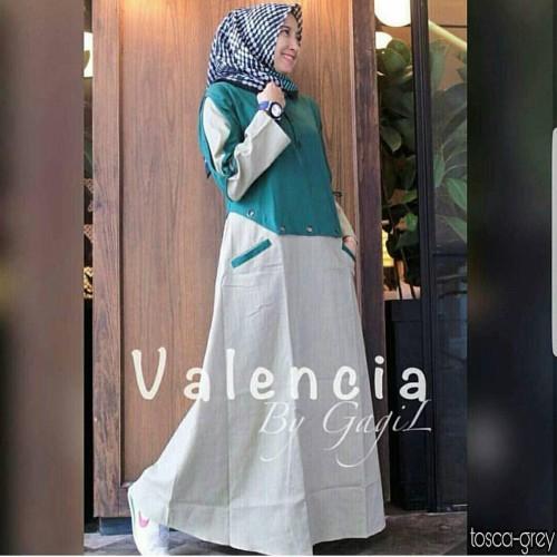 Foto Produk Baju Gamis Wanita Muslim Terbaru Valencia Dress Termurah - Dada Hitam dari hijabafwa
