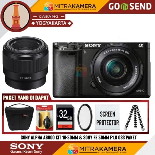 Foto Produk Sony Alpha A6000 Kit 16-50mm & Sony FE 50mm F1.8 OSS Paket dari mitrakamera jogja