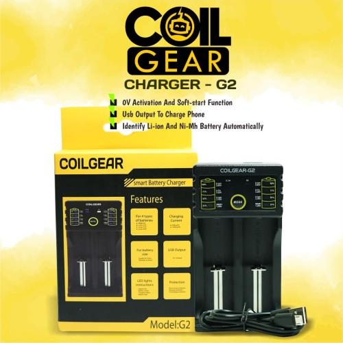 Foto Produk Authentic CoilGear Charger G2Baterai 18650 2 Slot with USB Output Vape dari VapeOi