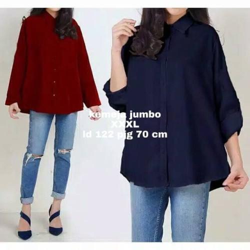 Foto Produk Baju atasan kemeja wanita Jumbo kantor big size XXXL - Navy dari My1stShop