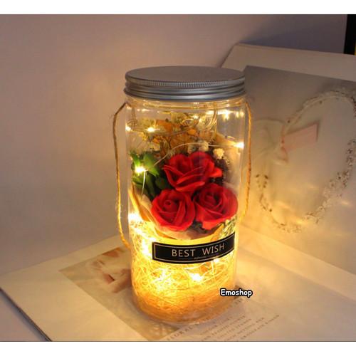 Foto Produk BUKET BUNGA MAWAR LED MENYALA buket wisuda,kado anniversary,kado anak - Biru, BEST WISH dari Emo Shop