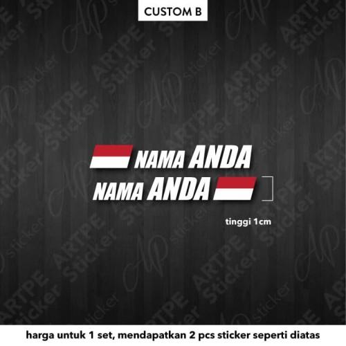Foto Produk (Custom-B) Nama Cutting Sticker untuk Sepeda dengan Bendera Indonesia dari Artpe Sticker