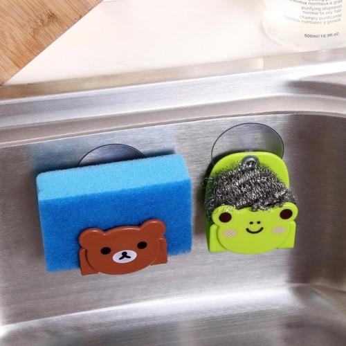 Foto Produk Gantungan Spons Kartun + Pengait / Vacuum Kitchen Sponge Holder- X375 dari HARIKU Shop