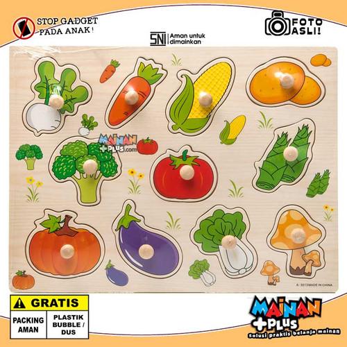 Foto Produk Mainan Edukasi Edukatif - Puzzle Belajar - Puzzle Kayu Tombol Kayu - Sayur dari MainanPlus