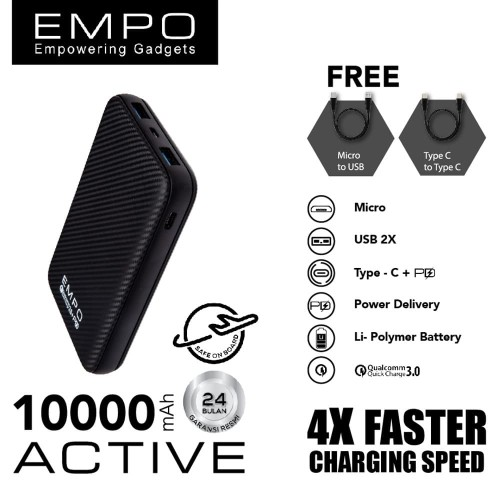 Foto Produk EMPO ACTIVE 10000mAh Power Bank Quick Charge 3.0 + PD Power Delivery B dari EMPO