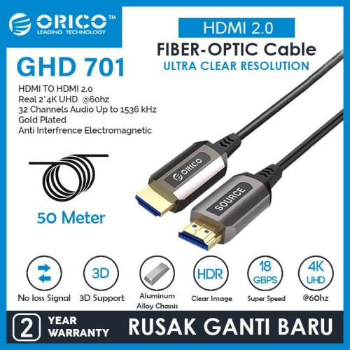 Foto Produk ORICO Cable HDMI 2.0 Fiber-optic High Speed - 50M - GHD701-500 dari ORICO INDONESIA